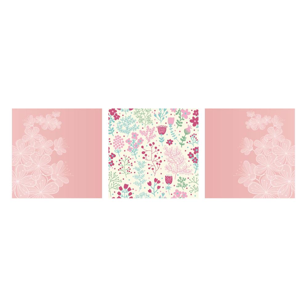 Painel Decorativo Galho de Flores e Estampa Floral