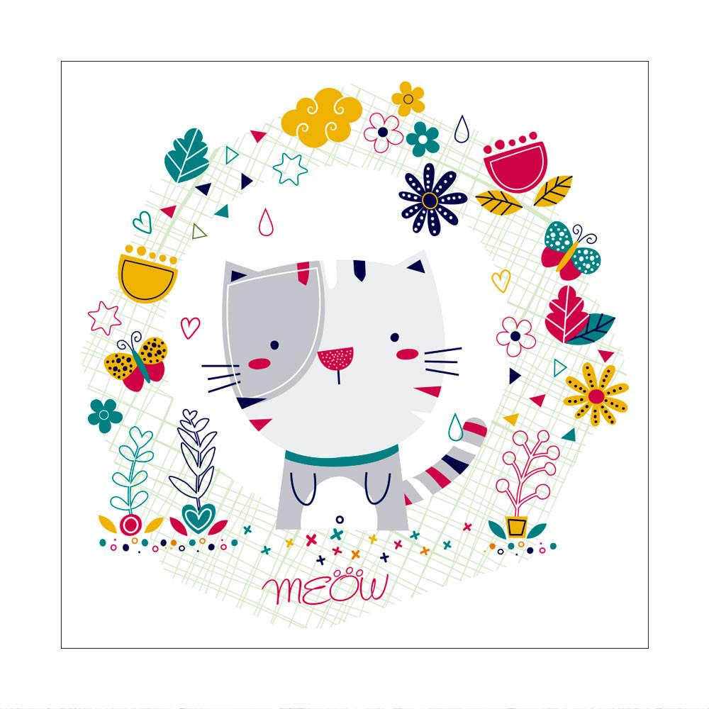 Painel Decorativo Infantil Gato Meou