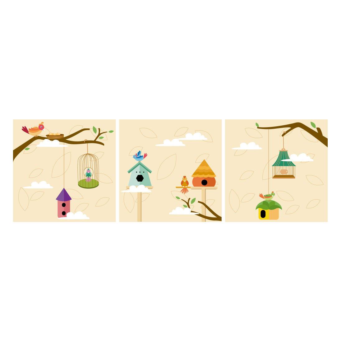 Conjunto de Quadros Decorativos Infantil Pássaros Painel