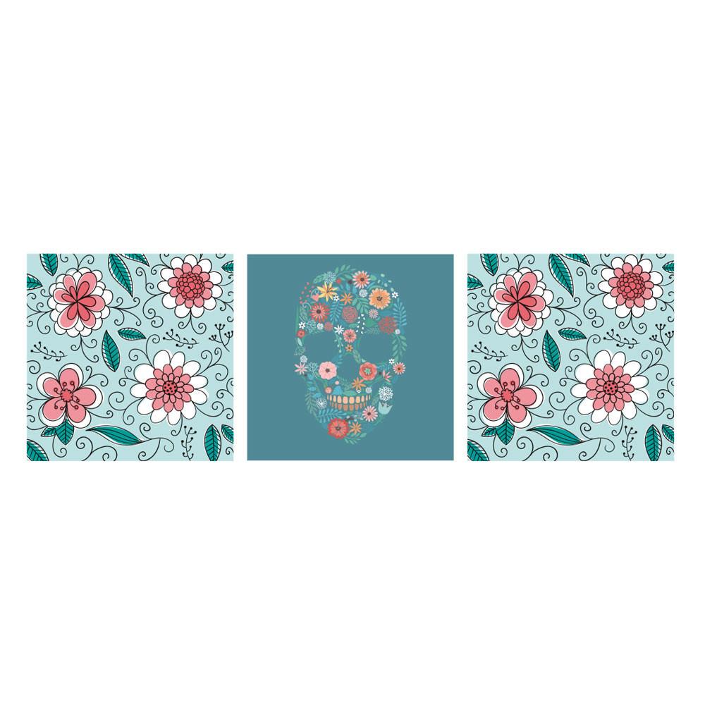 Painel Decorativo Caveira Mexicana Estampa Floral