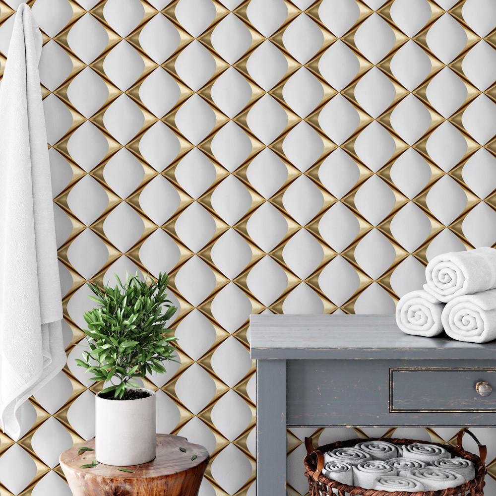 Papel de Parede 3D Gold Para Banheiro