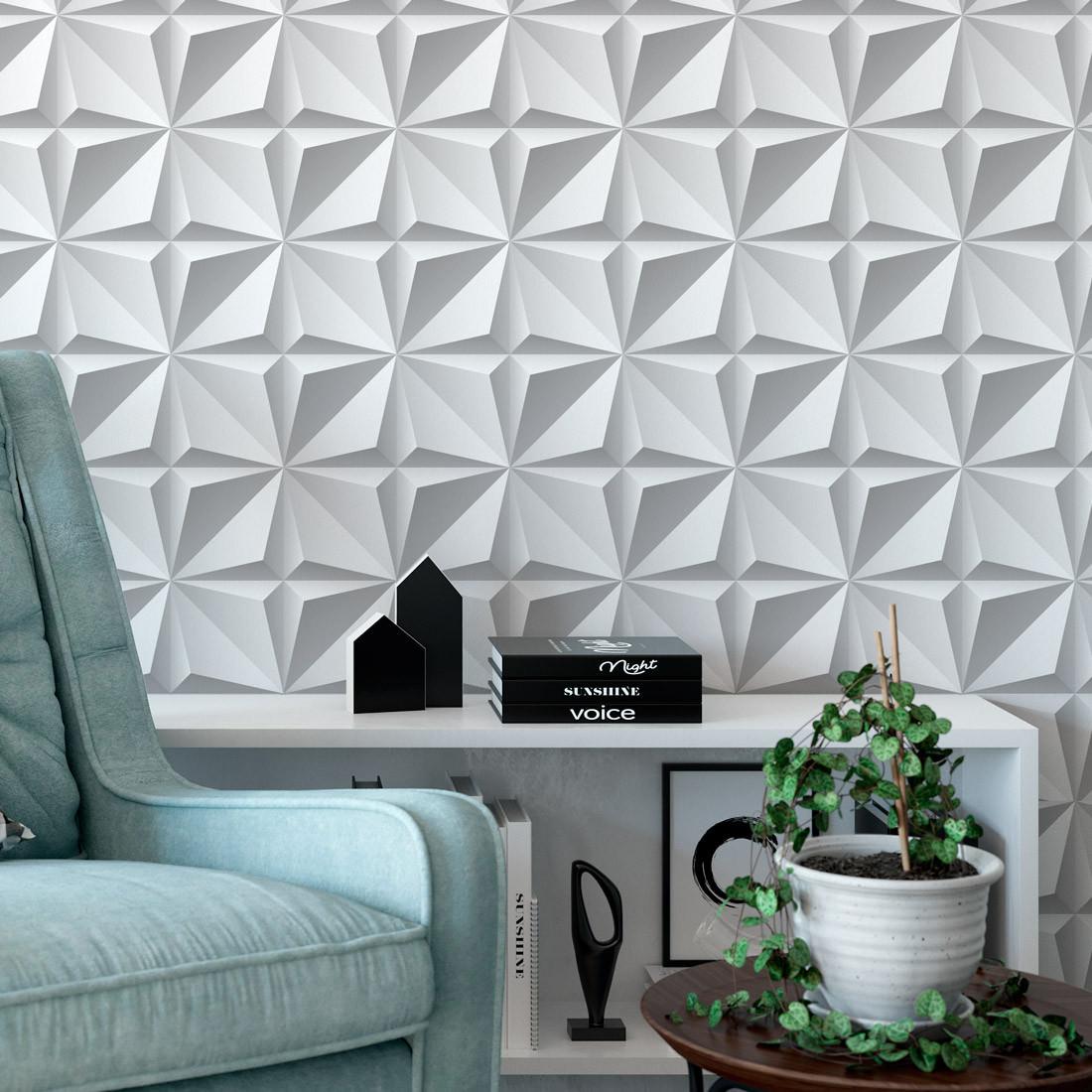 Papel De Parede 3D Origame Branco