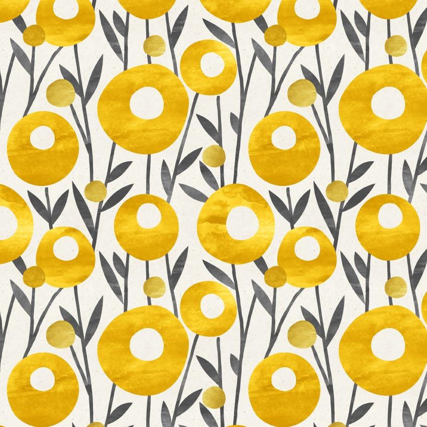 Papel de Parede Flores Douradas