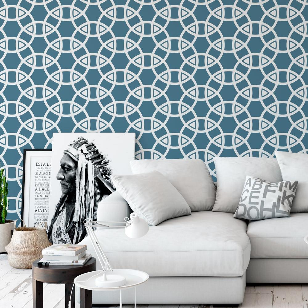 Papel de Parede Abstrato Círculos (Azul)
