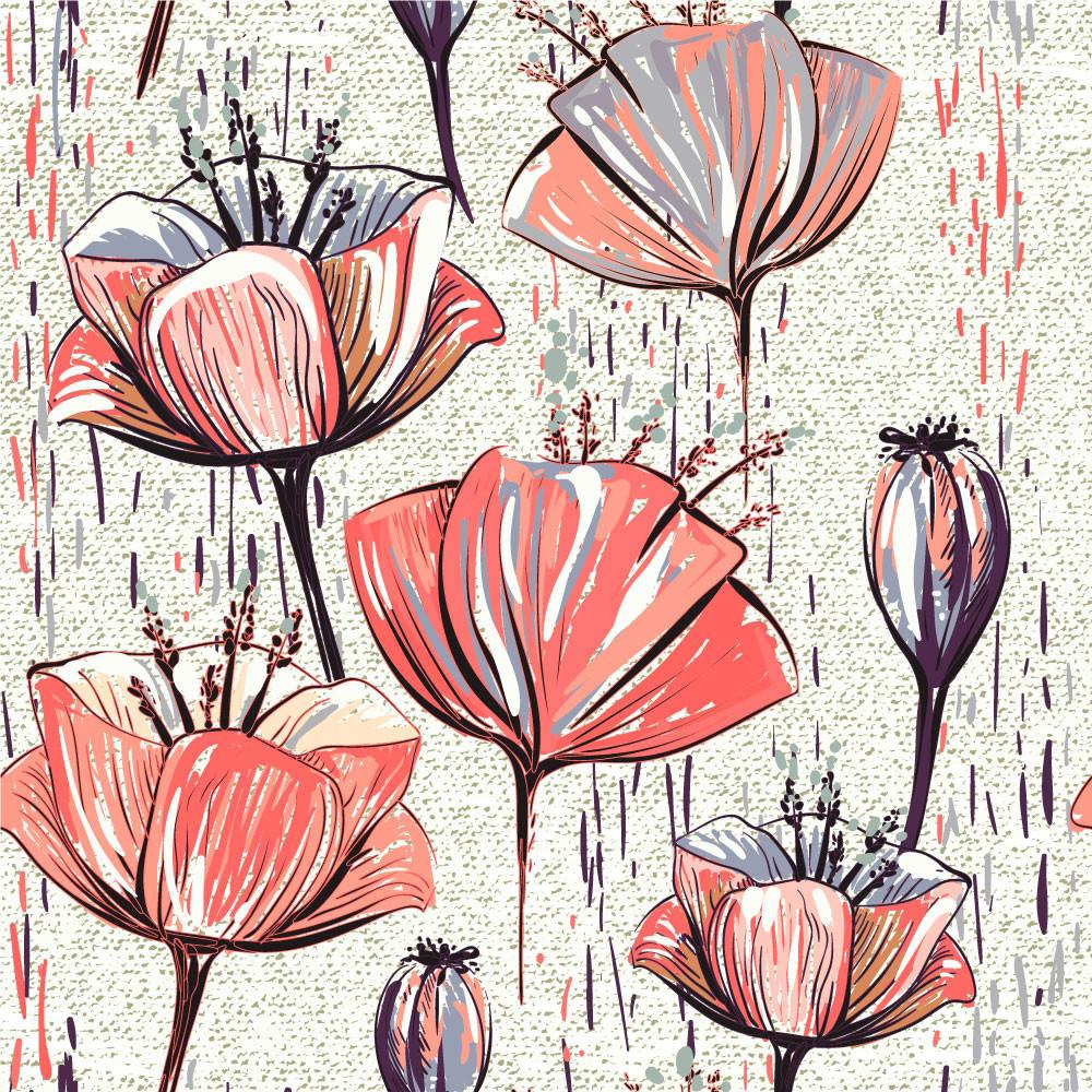 Papel de Parede Floral Flores Abstratas