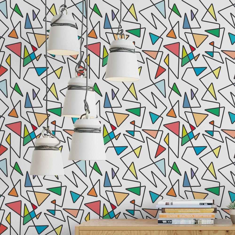 Papel de Parede Linhas Geométricas Coloridas
