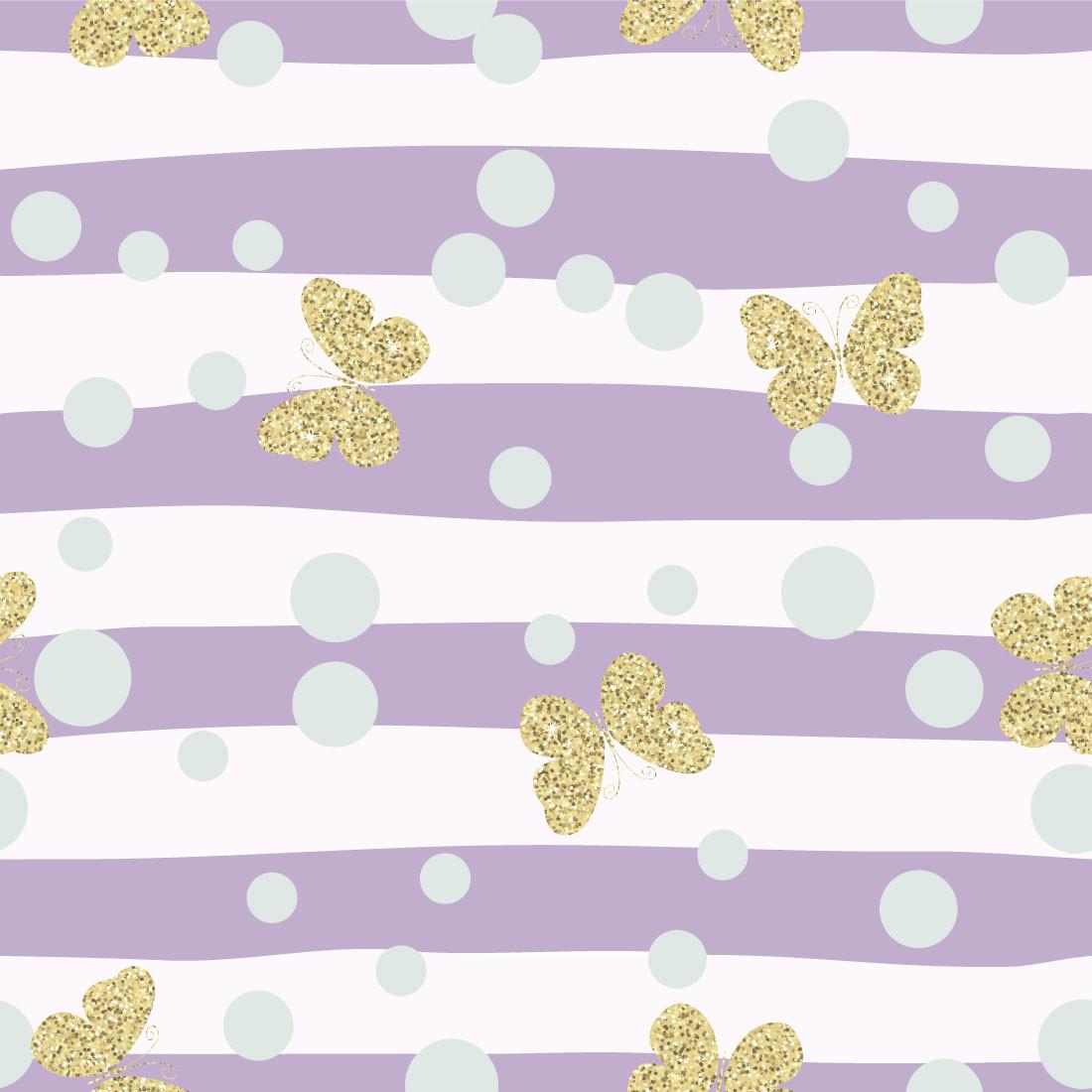 Papel de Parede Listras Irregulares Lilás Borboletas Gold