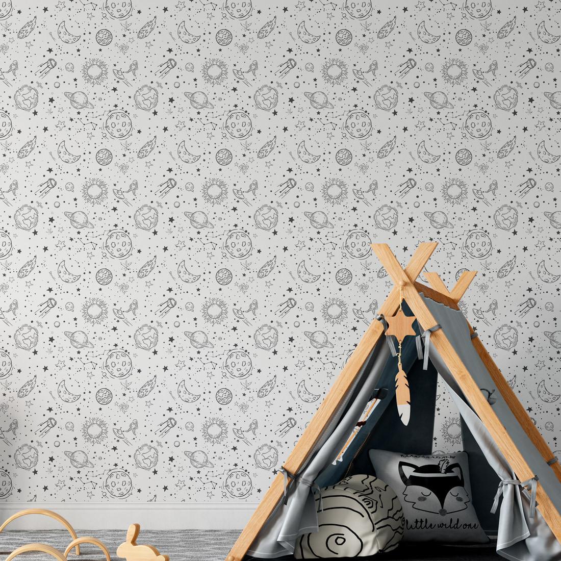 Papel de Parede Desenho com Astronauta e Foguete