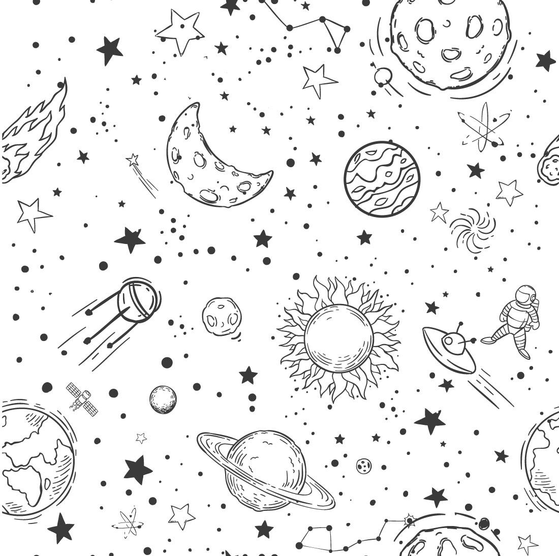 Papel de Parede Desenho Espaço com Planetas
