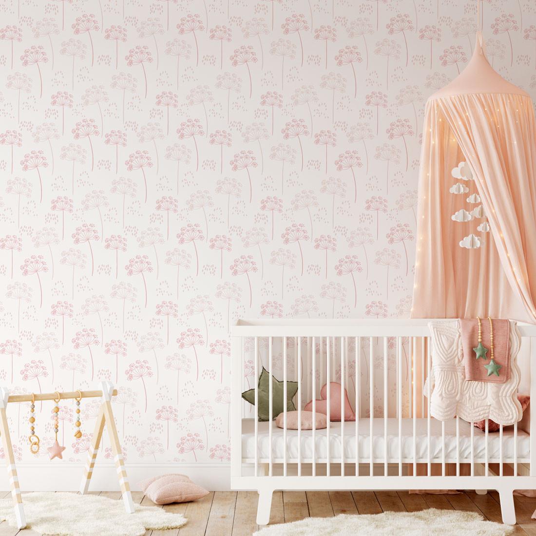 Papel De Parede Infantil Dente de Leão Tons de Rosa Bebê