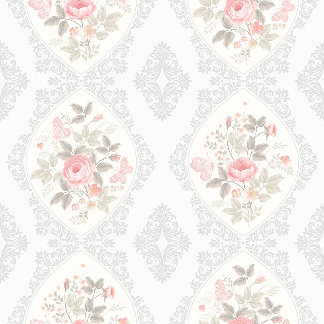 Papel de Parede Floral Rosas Detalhes Arabescos