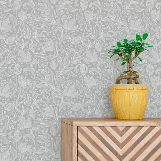 Papel de Parede Floral Arabesco Vintage