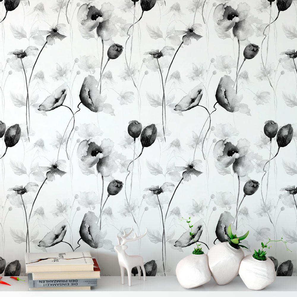 Papel de Parede Floral Preto & Branco