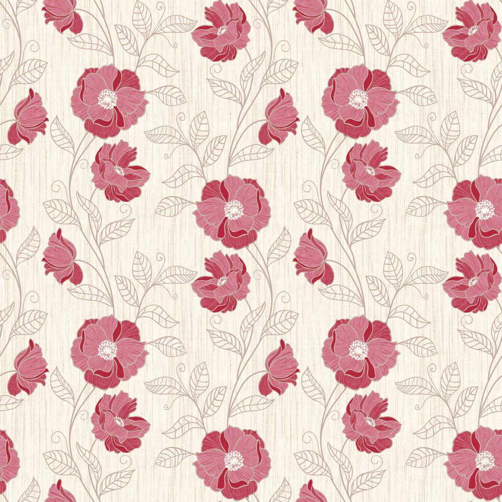 Papel de Parede Floral Flores Vermelhas