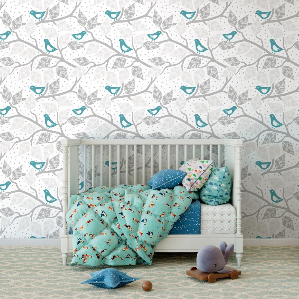 Papel de parede galhos folhas e p ssaros azul turquesa for Papel pintado azul turquesa