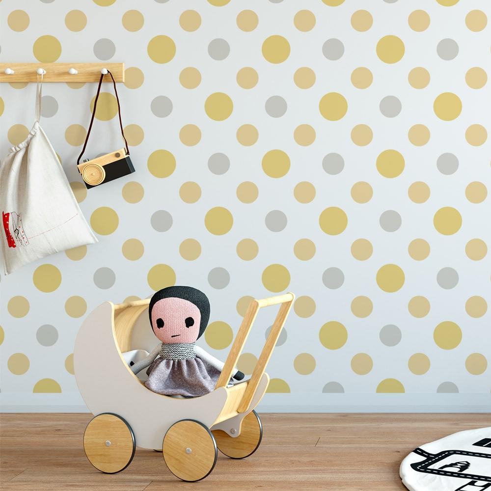 Papel de Parede Infantil Bolinhas Amarelas