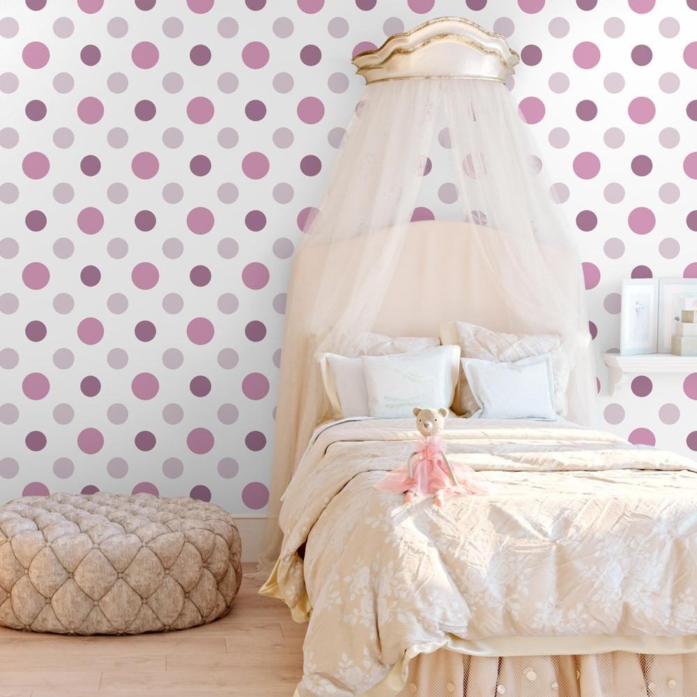 Papel de parede infantil bolinhas cor de rosa modelo for Papel decorado rosa