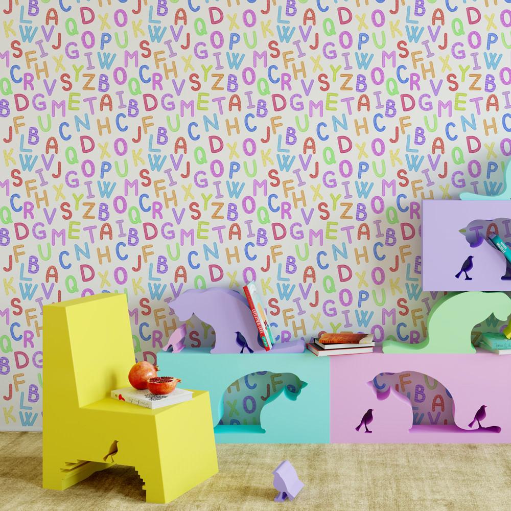 Papel de Parede Alfabeto Infantil Quartinho de Brinquedos