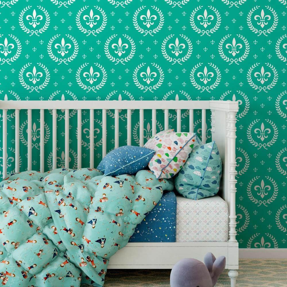 Papel de Parede Infantil Flor de Lis (Verde Turquesa)