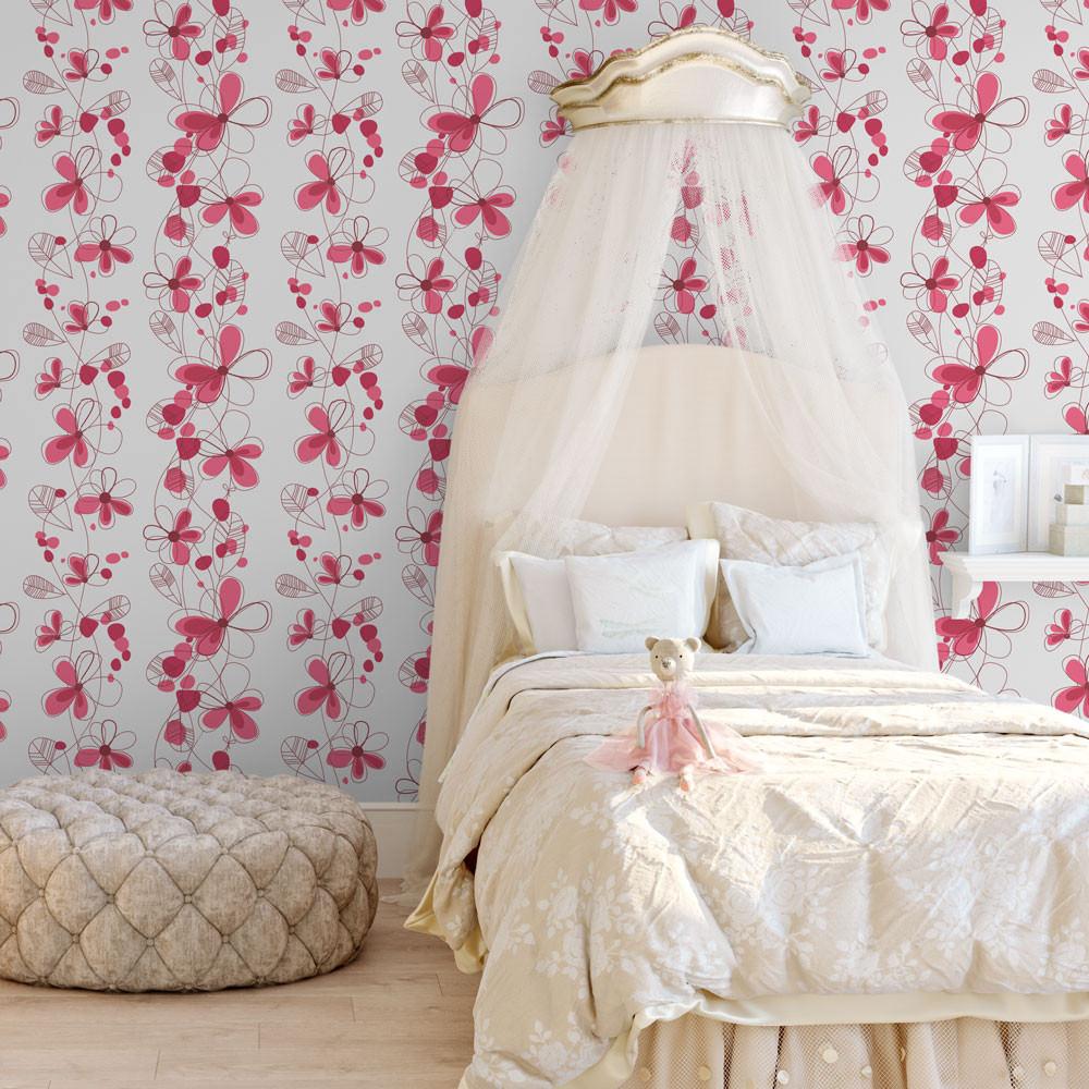 Papel de Parede Floral Pink