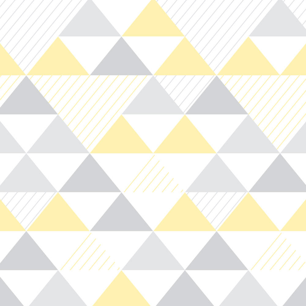Papel de Parede Infantil Triângulos (Tons de Cinza e Amarelo)