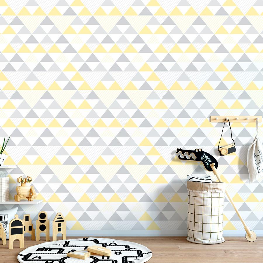 965c61443 ... Papel de Parede Infantil Triângulos (Tons de Cinza e Amarelo) ...