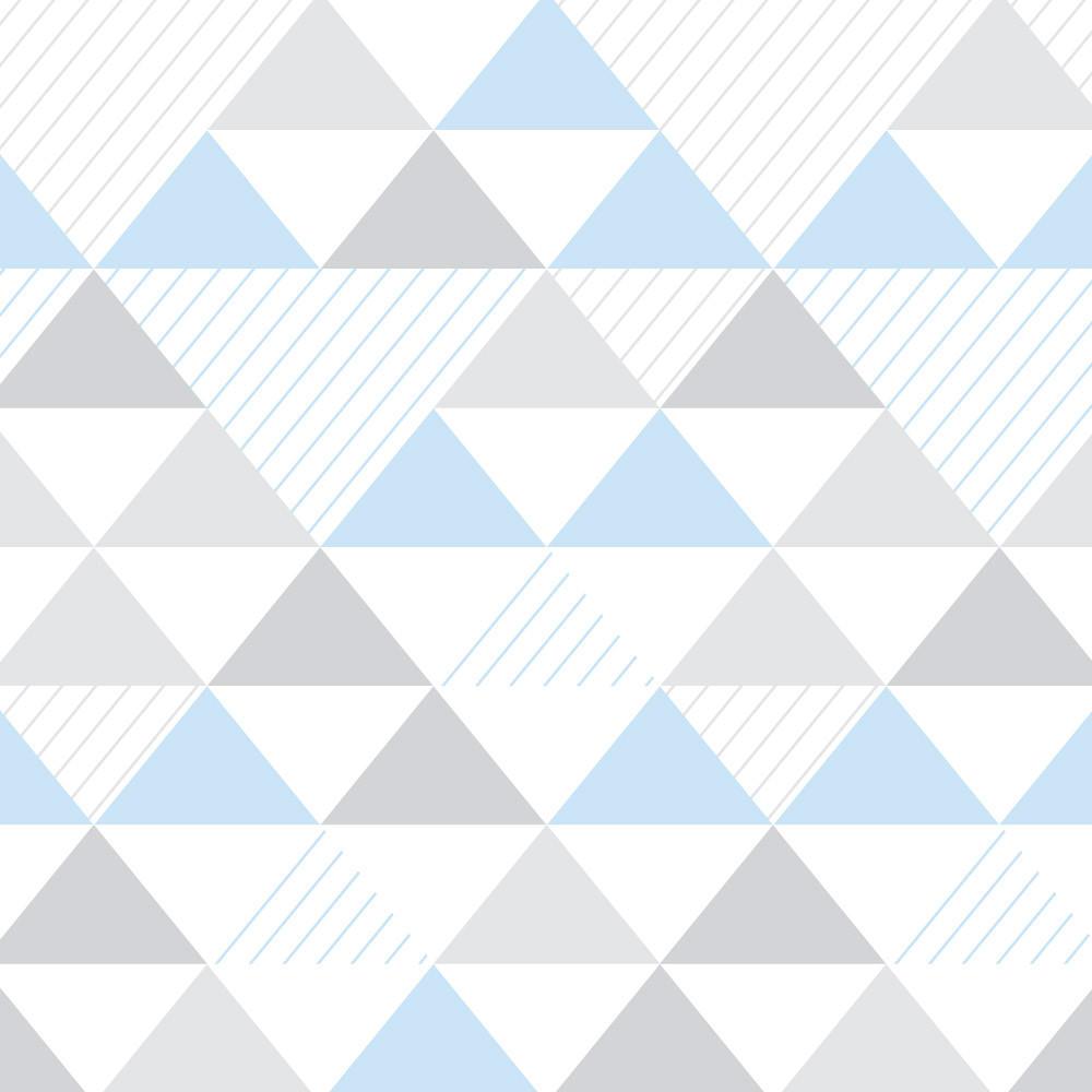 Papel de Parede Infantil Triângulos (Tons de Cinza e Azul)