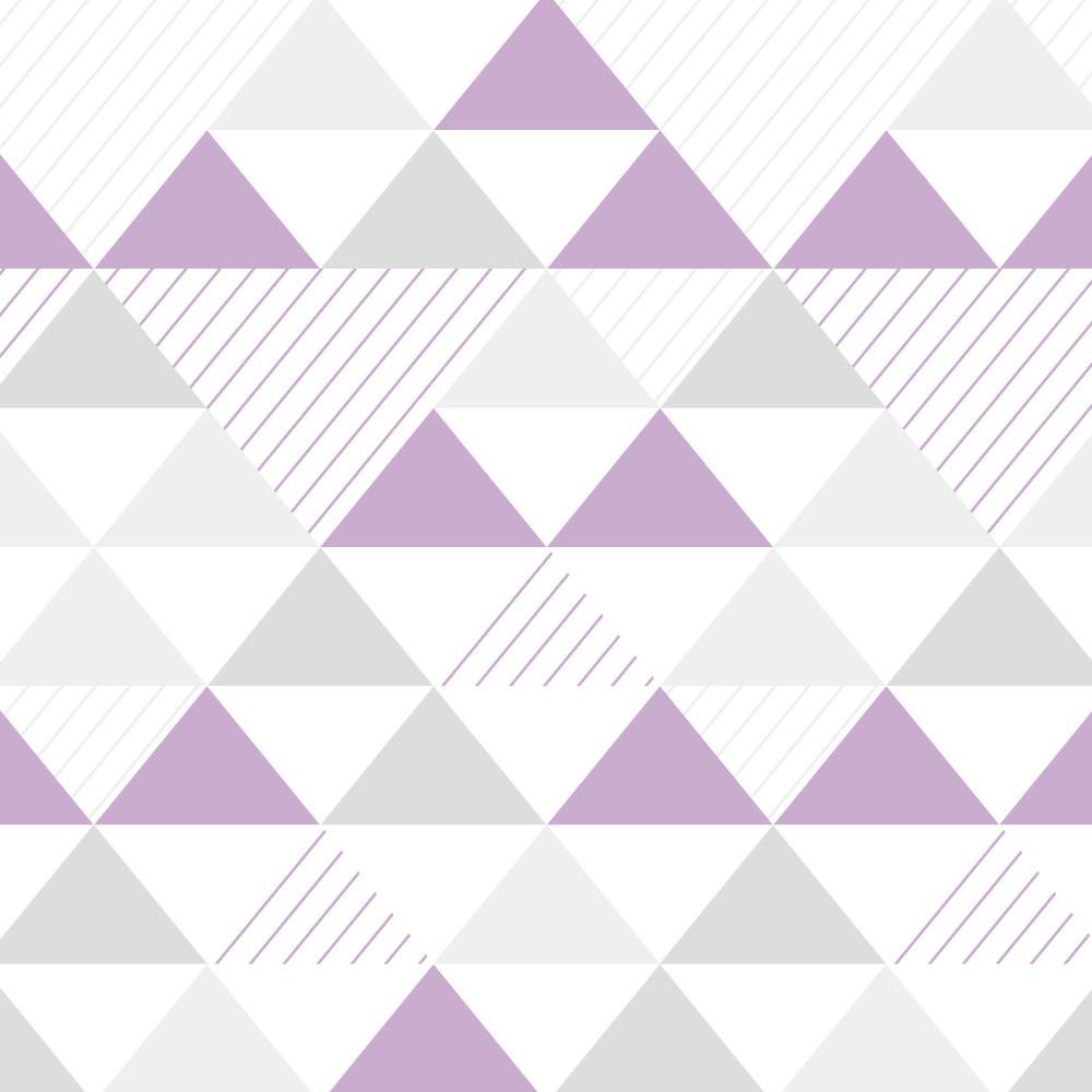 Papel de Parede Infantil Triângulos Cinza e Lilás