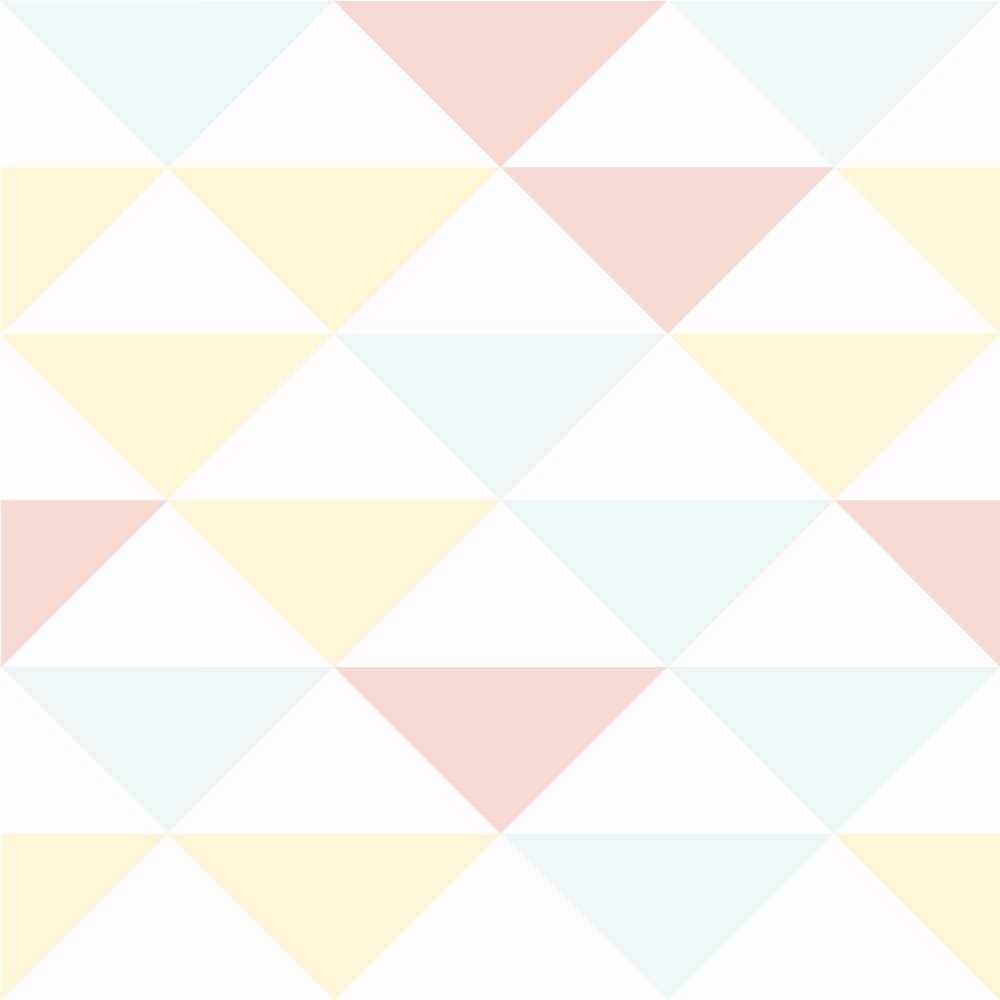 Papel De Parede Infantil Triângulos Tons de Rosa, Amarelo e Verde