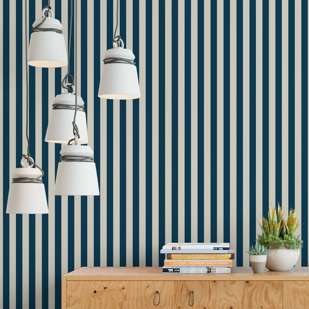 Papel De Parede Listras Azul Marinho E Branco Modelo Exclusivo  -> Parede Sala Listrada