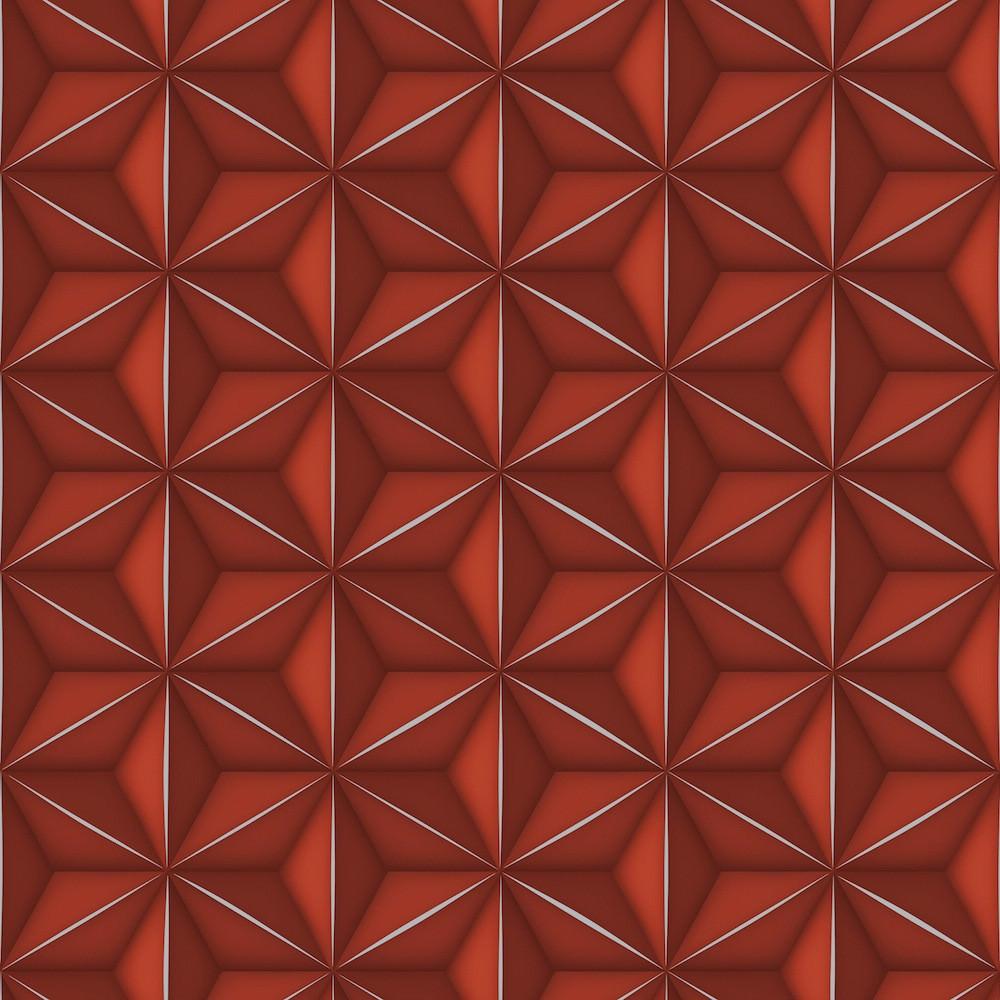 Papel de Parede 3D - Vermelho e Prata