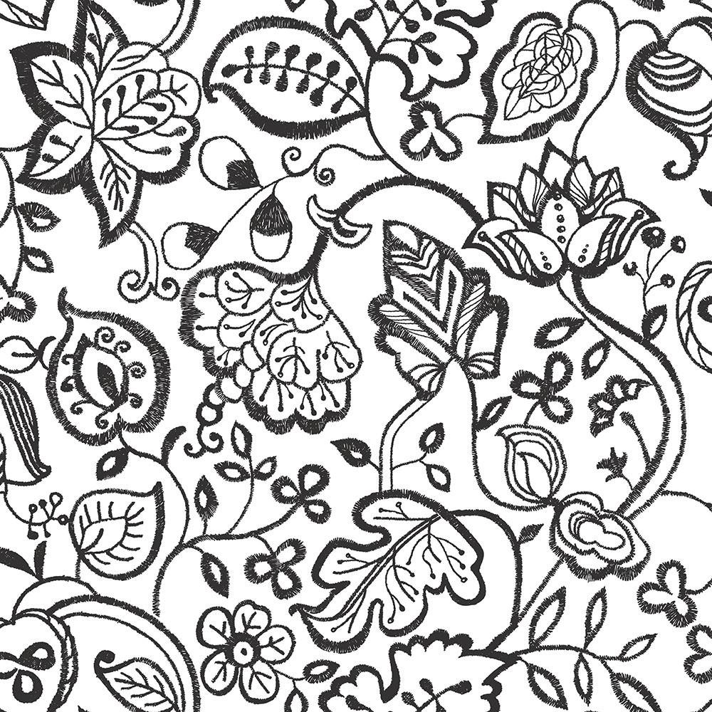 Papel de Parede Bordado de Flores - Preto e Branco