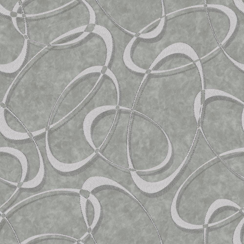 Papel de Parede Geométrico Círculos Cinza - Coruim