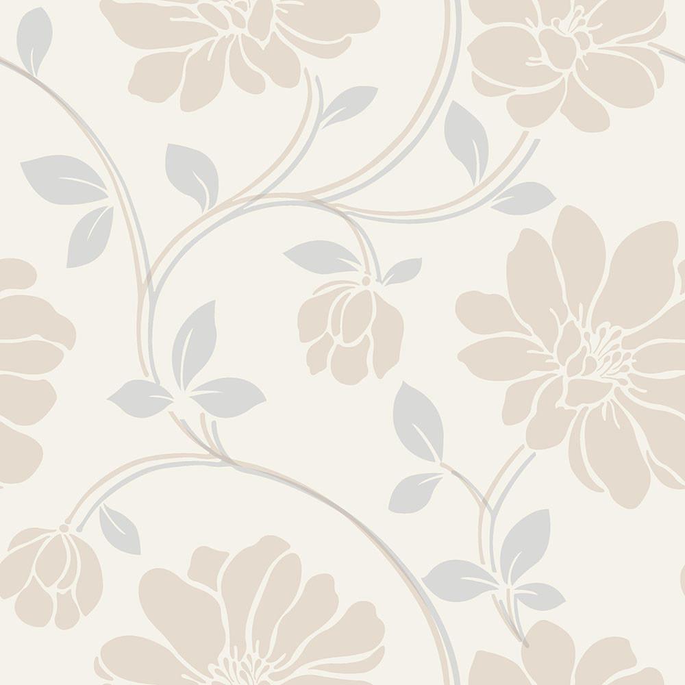 Papel de Parede Floral Bege / Ocre - Coruim
