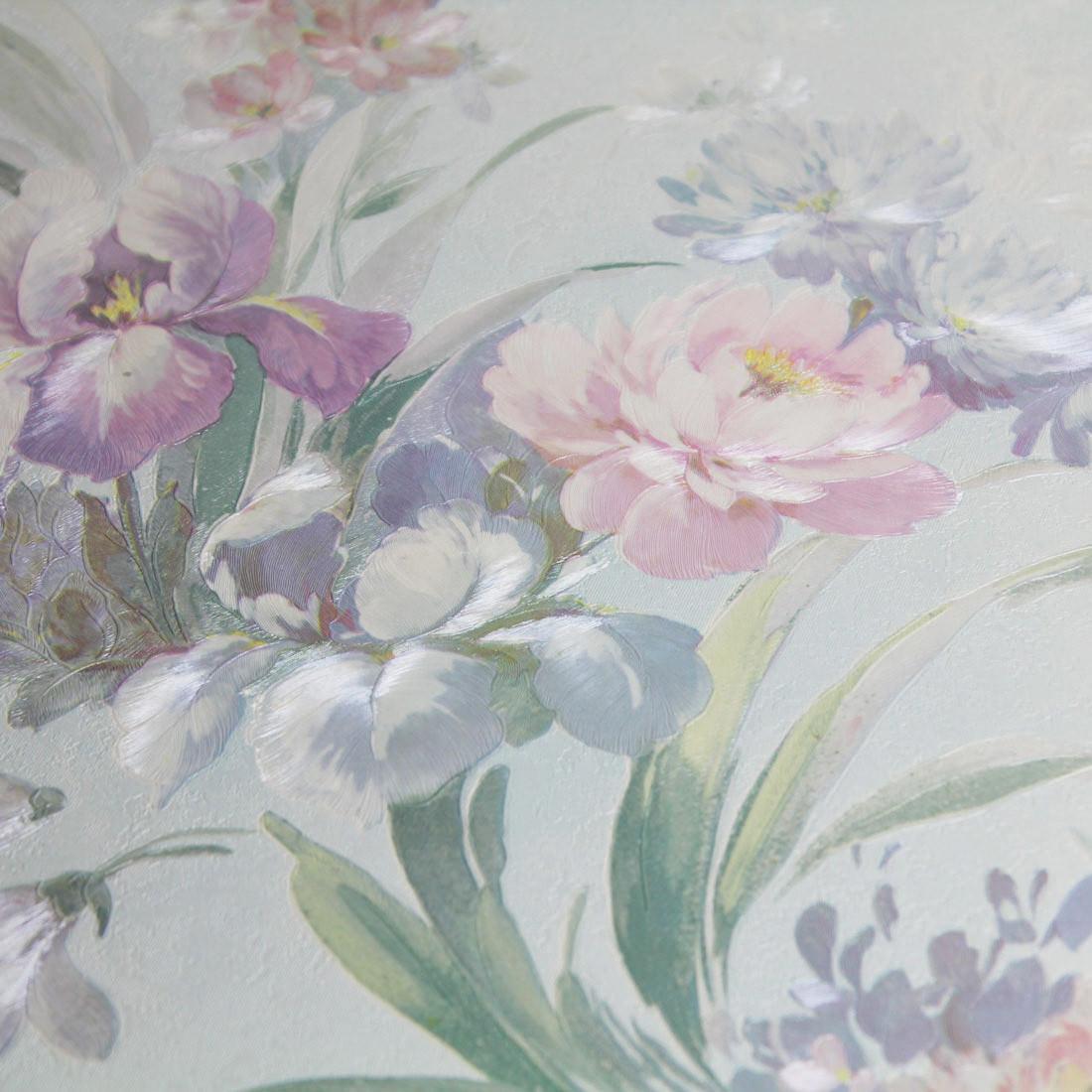 Papel de Parede Muresco Floral Azul texturizado