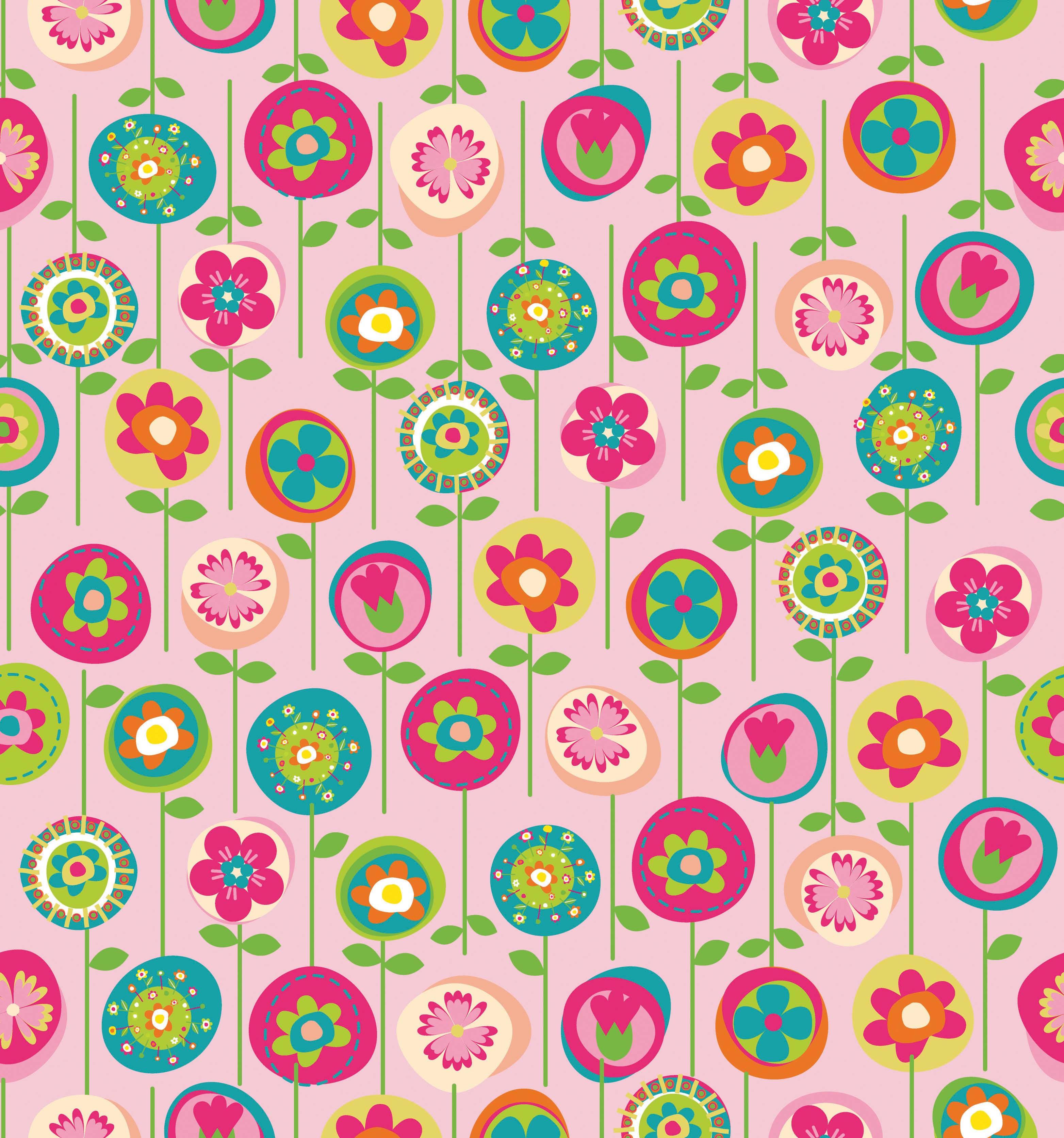 Papel de Parede Infantil Flores Fundo Rosa - Has#Tag
