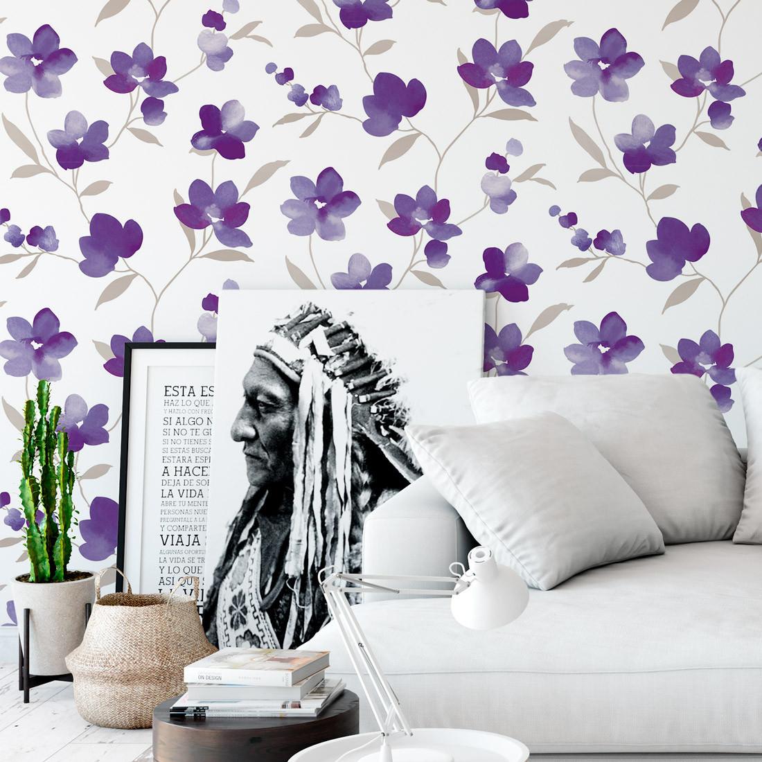 Papel de Parede Floral Aquarela - Flor Roxa - Rolo com 10 Metros