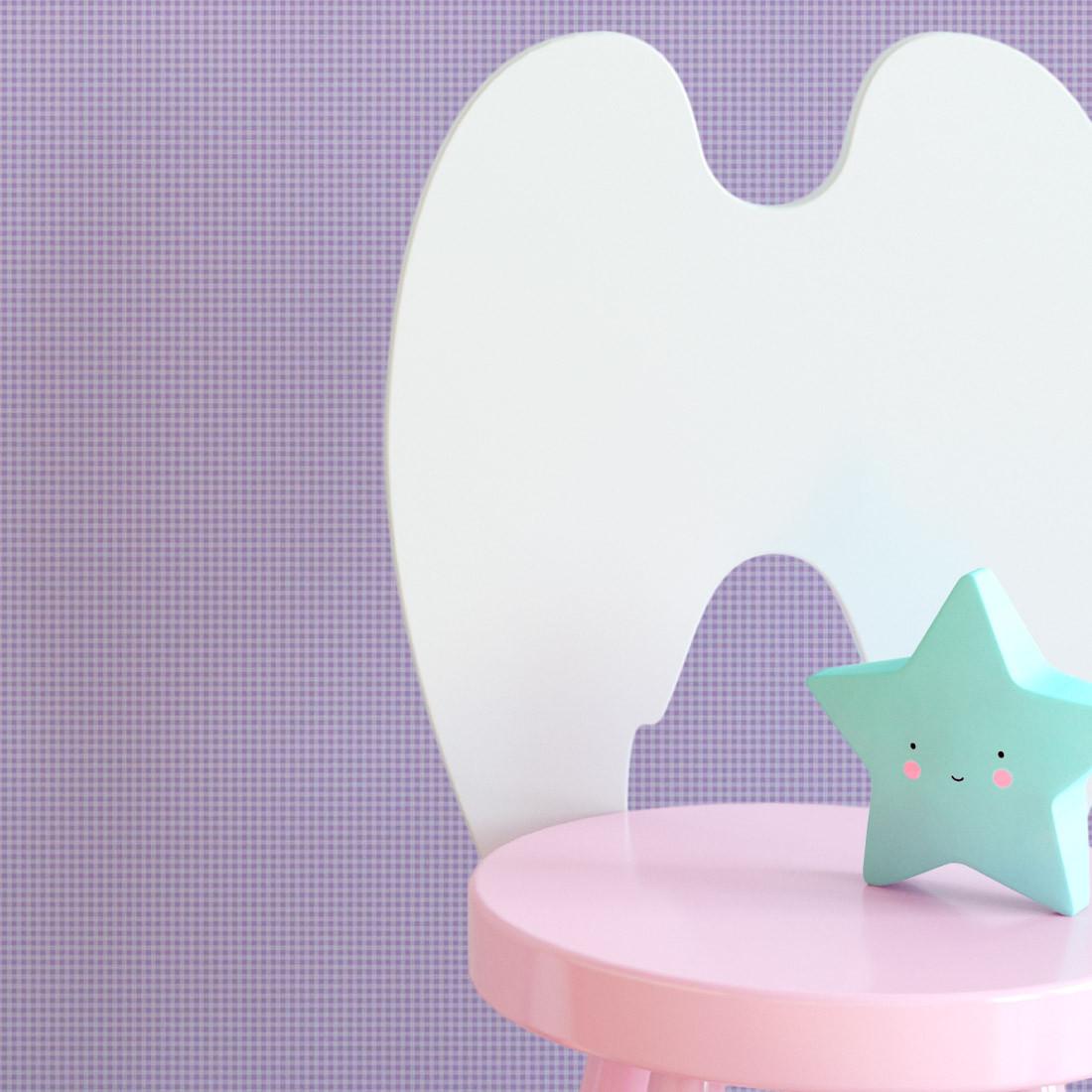 Papel de Parede Infantil Xadrez Lilás - Disney - Rolo com 10 Metros
