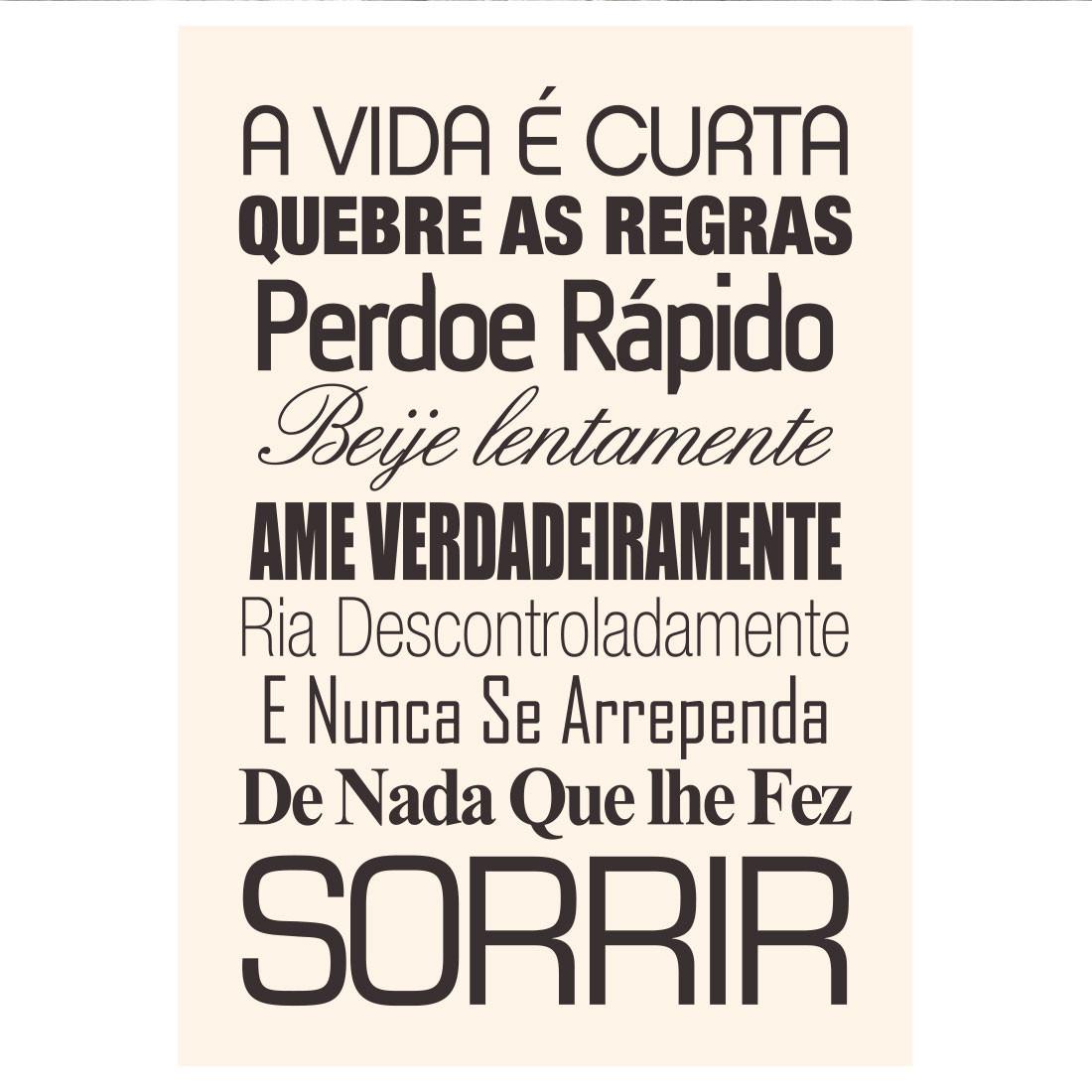 """Poster Decorativo """"A Vida é Curta""""..."""