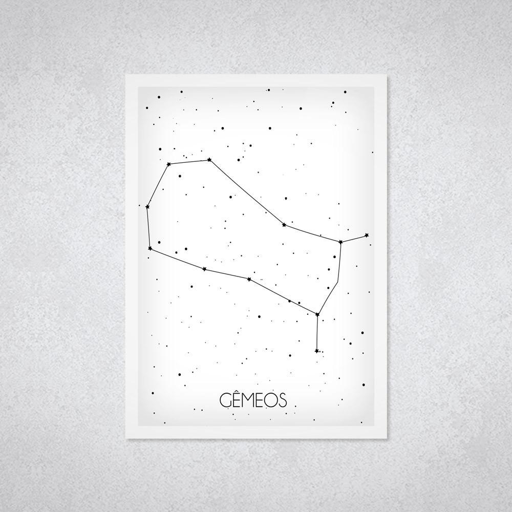 Quadro Decorativo Constelação Signo Gêmeos