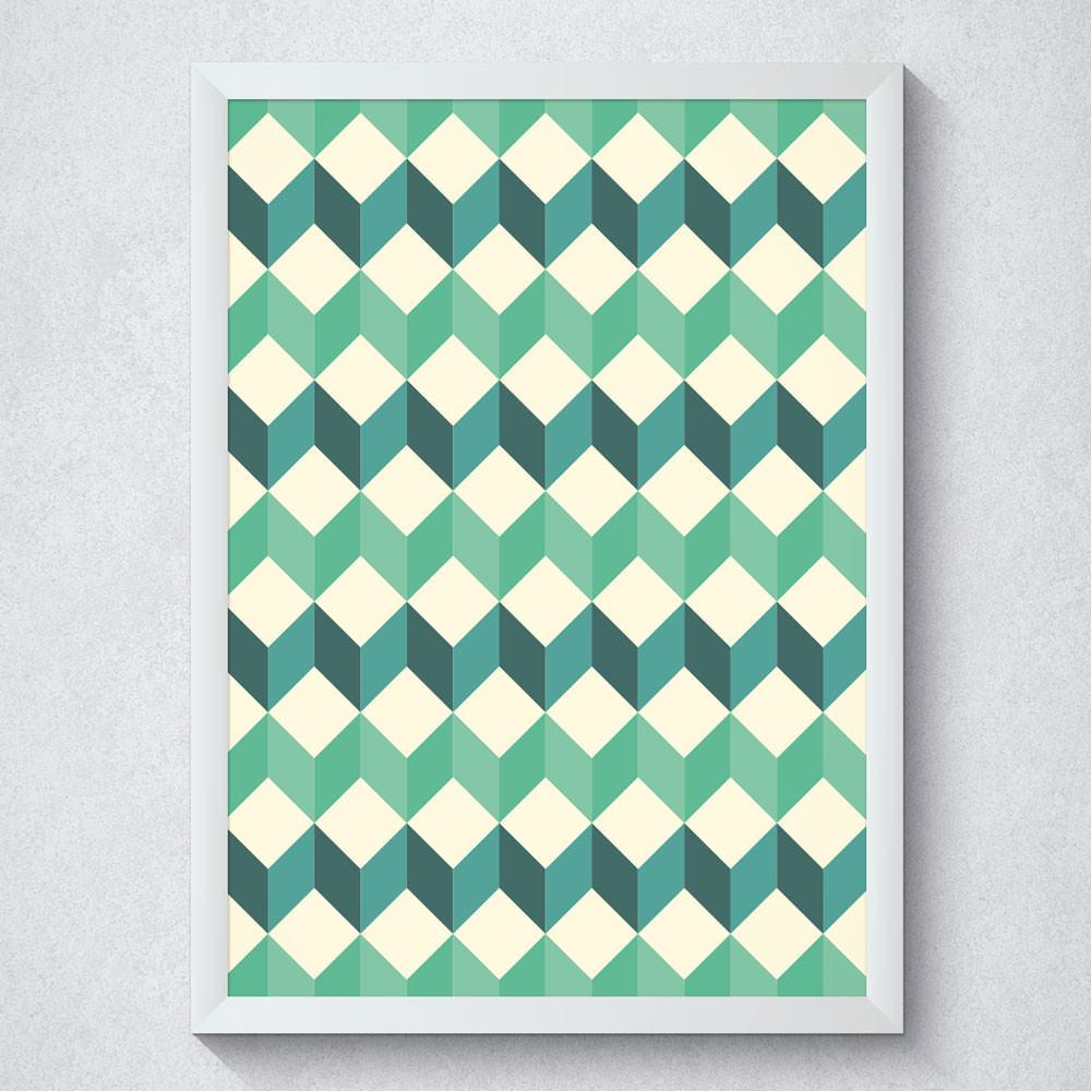 Quadro Decorativo Geométrico Tons de Verde