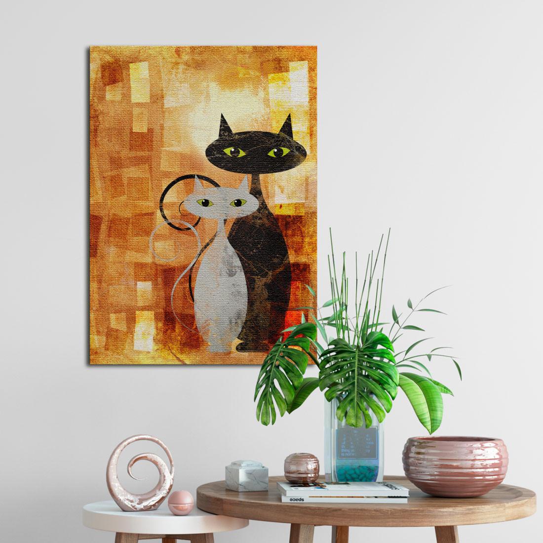 Quadro Decorativo Gatos Fundo Abstrato - Em Canvas