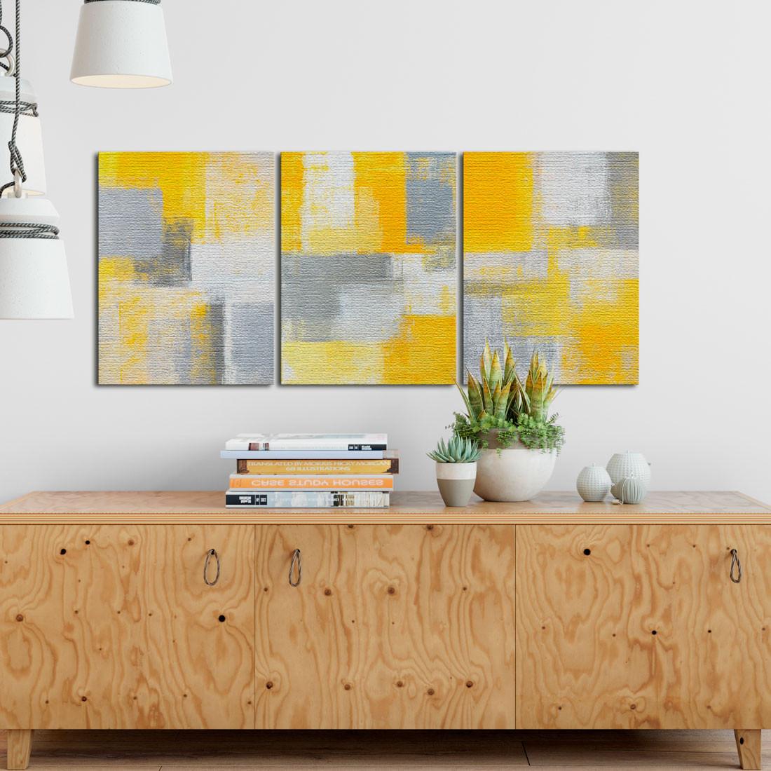 Quadro Decorativo Pintura Abstrata Amarelo
