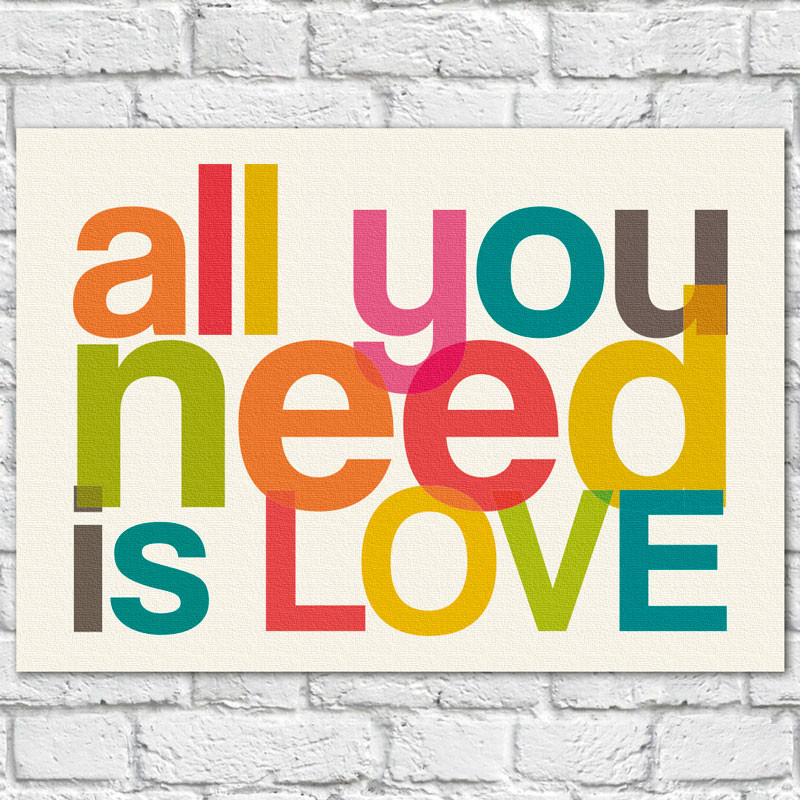 Quadro Decorativo All You Need is Love II - Em Canvas