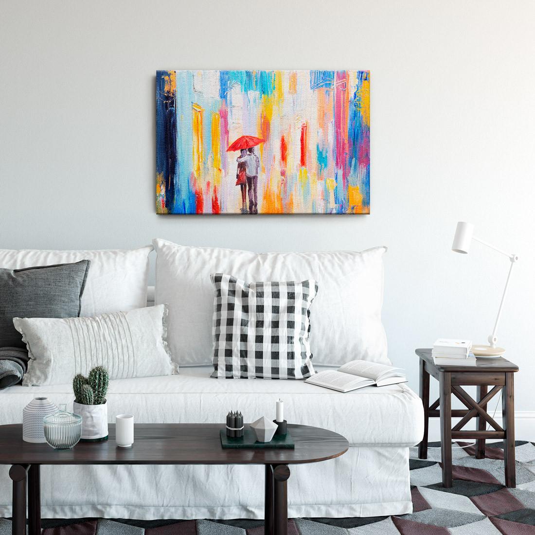 Quadro Decorativo Pintura Abstrata Casal em Cores