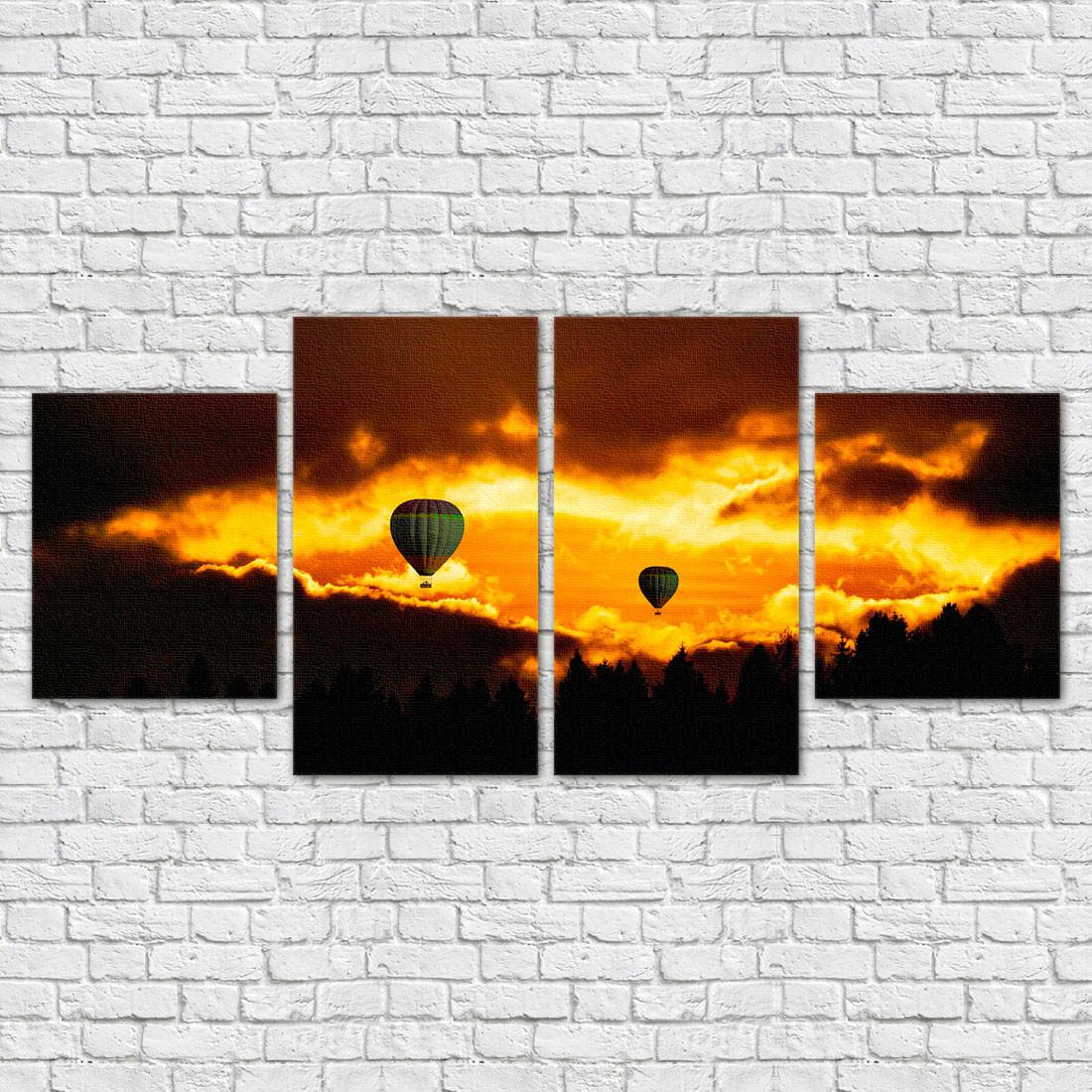 Conjunto de Quadros Decorativos Balões - Em Canvas