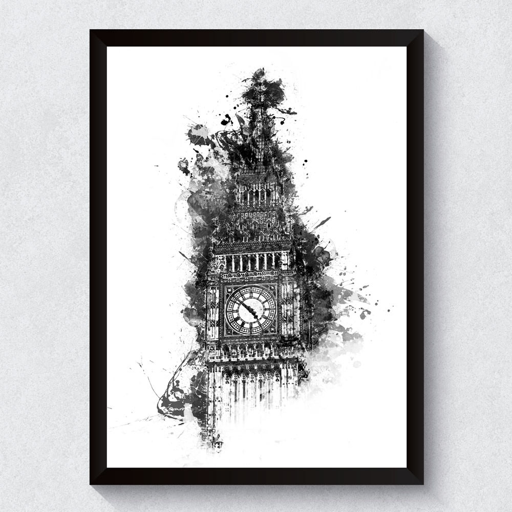 Quadro Decorativo Big Ben Aquarela