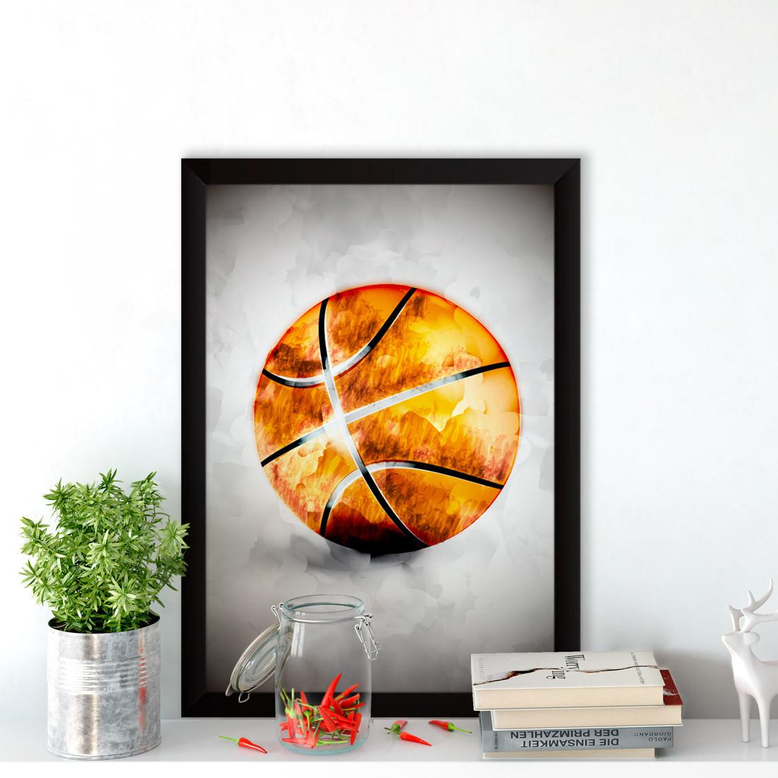 Quadro Decorativo Bola de Basquete Aquarela