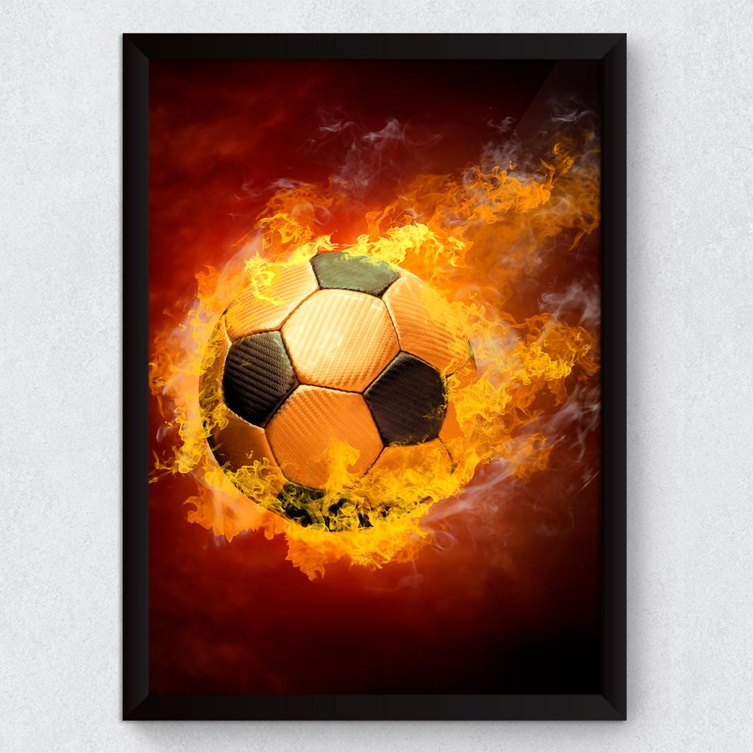 Quadro Decorativo Bola de Futebol Pegando Fogo - Modelo Exclusivo ... 237cdc7ad9558