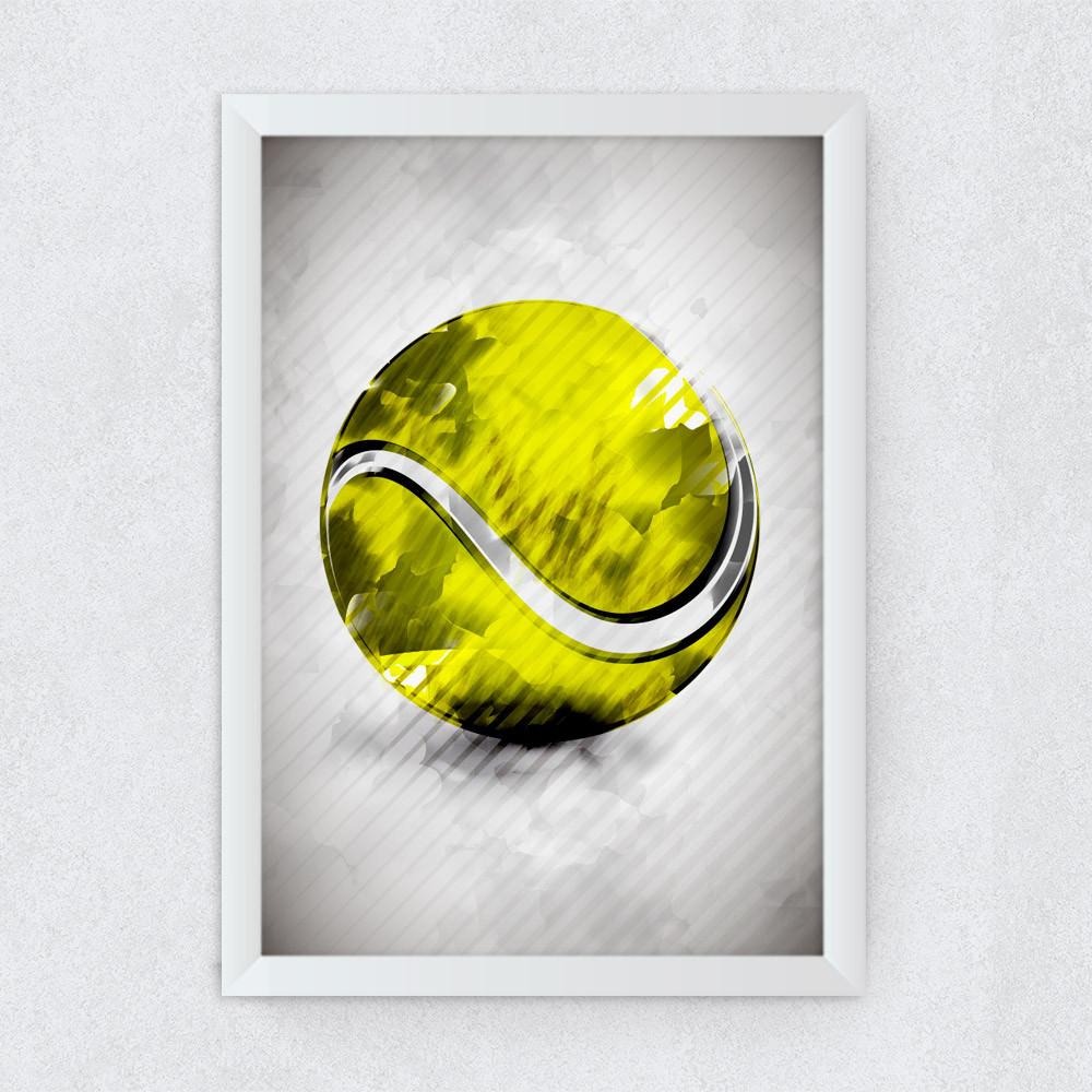 Quadro Decorativo Bola de Tênis Aquarela